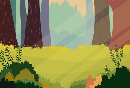 Scene nature cartoon background.Vector illustration.Forest scene with grass and flower in morning.Nature landscape with green wood Çizim