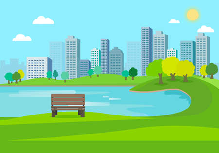 Public park nature landscape with city background.Nature scene with bench in city.Lake in town.Urban with spring meadow.Lake Park Summer.Vector illustration