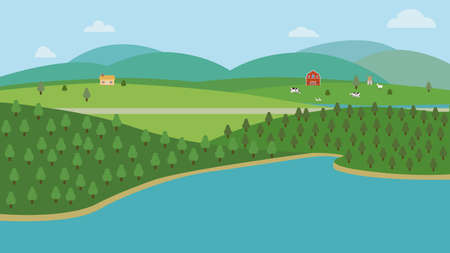 Countryside nature landscape with farm.Vector illustration.Natural scene with hills trees river road  mountain cloud and sky.Farmland with animal and forest.Ecology spring land concept Çizim