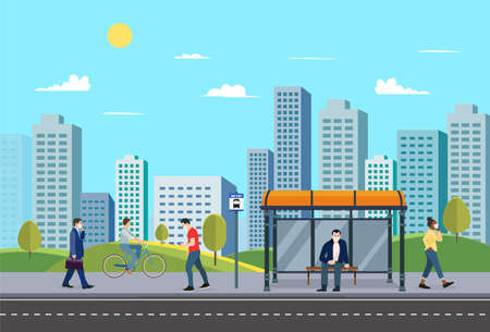 People at Bus stop with street urban.Public park with city people and nature landscape.Person in town.Vector illustration