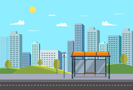 Bus stop on main street urban.Public park with city and bus stop and nature landscape.Bus stop sign in downtown.Vector illustration