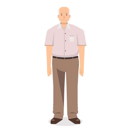 Old man stand flat vector design.Grandfather cartoon style