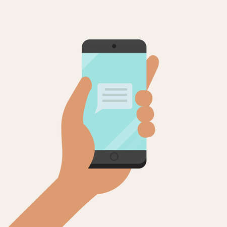 Hand holding smartphone with message icon on screen flat style.Vector illustration.Connection with phone technology concept Çizim