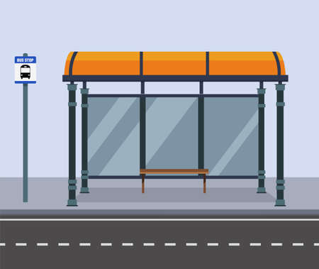 Bus stop on street city.Public road with bench and bus stop sign.Vector illustration Çizim
