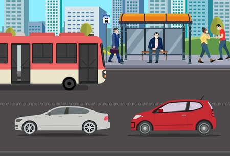 People at Bus stop with car on street urban background.Public park with city and people walking.Person in town with bus and car.Vector illustration