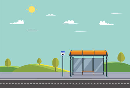 Bus stop on main street city.Public park with bench and bus stop with nature landscape.Public road in summer.Vector illustration