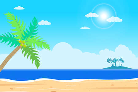 Tropical Beach island vector .Islands shore with palm tree.Beautiful seascape  with sunshine.Summer season holiday.Beautiful paradise island with beach and sea