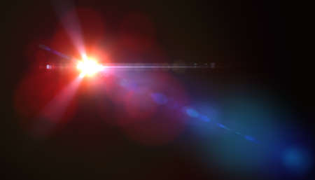 Lens flare or Star flare in black background.Modern nature flare effect with black background for overlay design Stok Fotoğraf