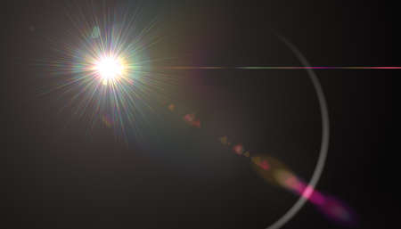 Lens Flare.Light over black background. Abstract sun burst with digital lens flare background. Gleams rounded shapes Stok Fotoğraf