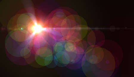 Abstract digital lens flare with black background.Sunlight effect.Sparkle bokeh background Stok Fotoğraf