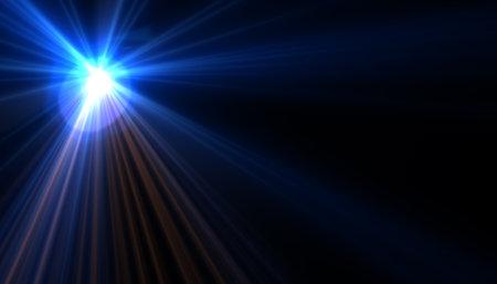 Blue digital lens flare in black background horizontal frame warm Standard-Bild