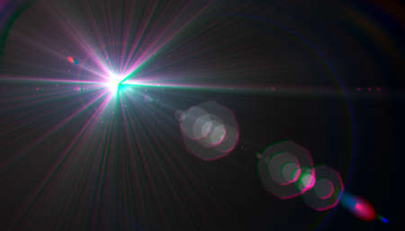 Abstract lens flare light over black background.sun burst on black background