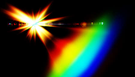 Lens flare or Star flare in black background.Modern nature flare effect with spectrum light for overlay design