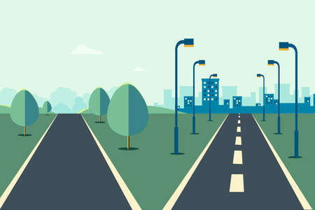 Cityscape scene with road two ways  and sky background vector illustration.Street to city and rural scene