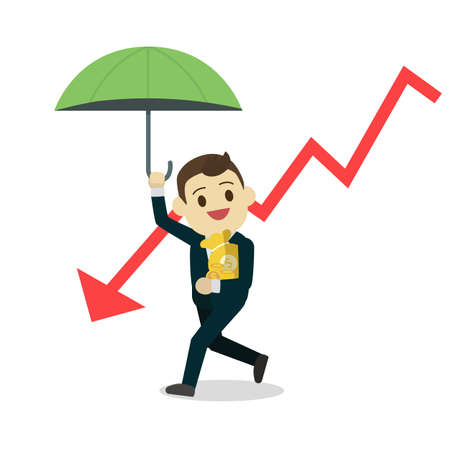 Businessman protect money from down stock.Cartoon business man holding umbrella and money bag with down arrow.Portect money form Risk business concept