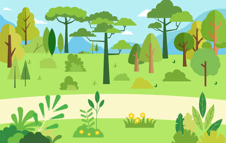 Rural scene with natural tree.Vector illustration.Beautiful summer nature landscape.Forest with mountain and sky background.Garden green grass with bushes and trees.Trees and flower set flat style