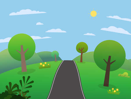 Road on hills with big mountains and sky.Beautiful scene meadows with mountains in summer.Nature landscape with rural street. Vector illustration