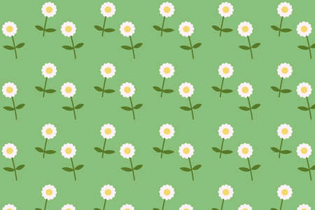 Daisy blooming pattern flat style background vector.Flower textile with green background Çizim