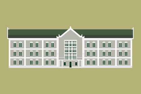 Thai Goverment buildings on street flat design.Old historic building.Classic house isolated background.Flat facade buildings design Çizim
