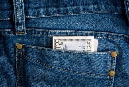 greenbacks: Dollar in jeans Stock Photo