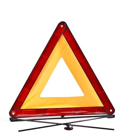 forewarning:  red reflecting safety triangle
