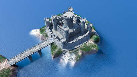Medieval fortress on the water with massive walls and towers, which has a bridge on one side