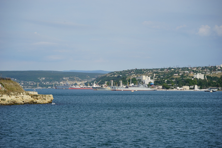 The city of Sevastopol from the sea with a variety of buildings and ships
