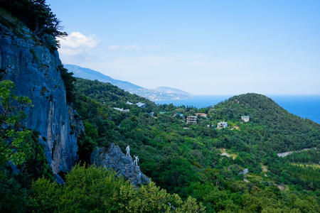 mountain landscape with views of the sea and mountain Ayu-Dag in Crimea Stock Photo