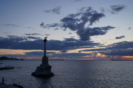 Dramatic sunset over the sea in the Sevastopol Bay
