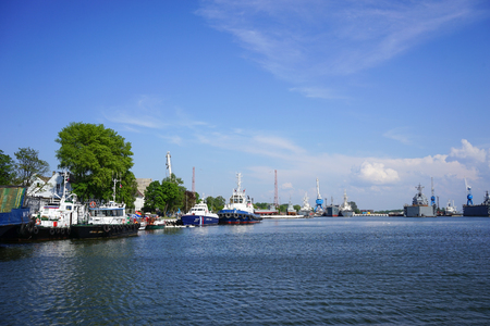 Baltiysk, Russia - may 12, 2016 Parking warships near the coastline