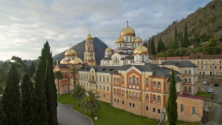 Landscape with views of the new Athos Christian monastery.