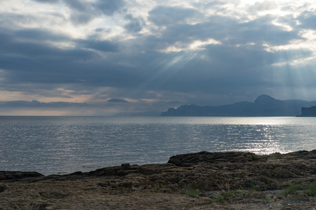 Seascape with views of the mountains and the sea in Megan Bay. Sudak, Crimea