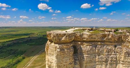 Aerial view of the natural landscape overlooking the rocks of AK-AK-Kaya. Crimea, Belogorsk