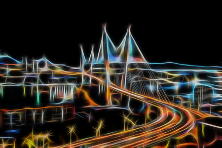 Abstract night city landscape glowing with neon light. For design and networking. Stock Photo
