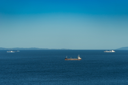 Vladivostok, Russia-September 1, 2018: seascape with views of ships, sea and sky Reklamní fotografie