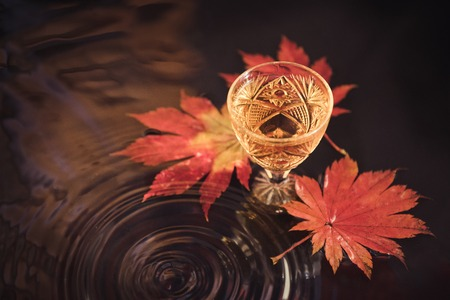 Autumn background with wine in crystal glass on the background of red maple leaves. 写真素材