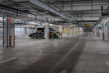 Murmansk, Russia-June 5, 2015: an underground car Park under the shopping centre Editorial