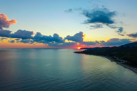 Aerial view of a beautiful sunset over the sea. Abkhazia, New Athos.