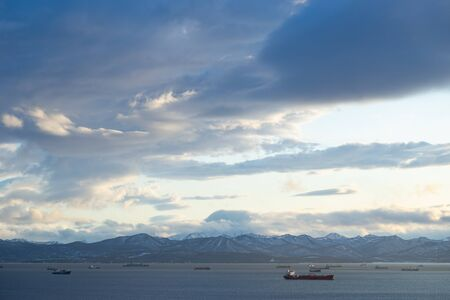 Marine landscape with views of the Avacha Bay with the ships. Petropavlovsk-Kamchatsky, Russia