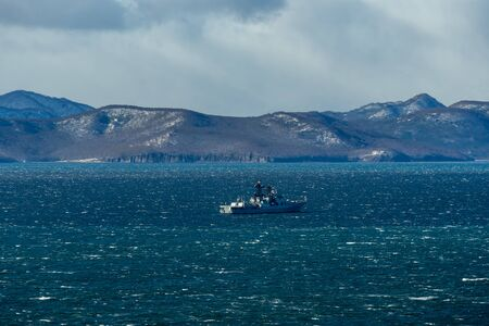 Marine landscape with views of the Avacha Bay with the military . Petropavlovsk-Kamchatsky, Russia 写真素材 - 132279789