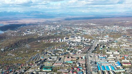 Aerial view of the urban landscape of Petropavlovsk-Kamchatsky, Russia. 写真素材 - 133344431