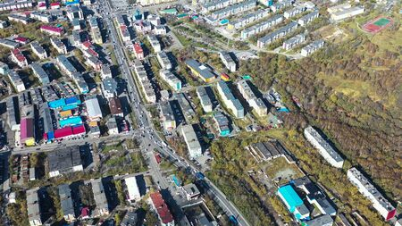 Aerial view of the urban landscape of Petropavlovsk-Kamchatsky, Russia. 写真素材 - 133344429