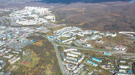 Aerial view of the urban landscape of Petropavlovsk-Kamchatsky, Russia. 写真素材 - 133344438