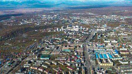 Aerial view of the urban landscape of Petropavlovsk-Kamchatsky, Russia. 写真素材 - 133344437