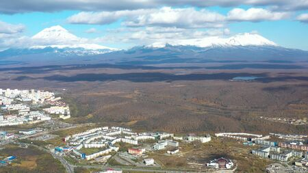 Aerial view of the urban landscape of Petropavlovsk-Kamchatsky, Russia. 写真素材