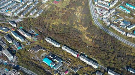 Aerial view of the urban landscape of Petropavlovsk-Kamchatsky, Russia. 写真素材 - 133345315