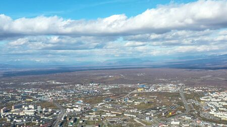 Aerial view of the urban landscape of Petropavlovsk-Kamchatsky, Russia. 写真素材 - 133344520