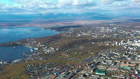 Aerial view of the urban landscape of Petropavlovsk-Kamchatsky, Russia. 写真素材 - 133344521