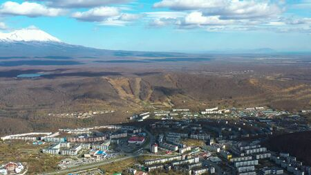 Aerial view of the urban landscape of Petropavlovsk-Kamchatsky, Russia. 写真素材 - 132325546