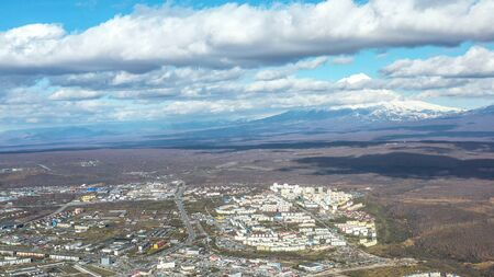 Aerial view of the urban landscape of Petropavlovsk-Kamchatsky, Russia. 写真素材 - 132325776